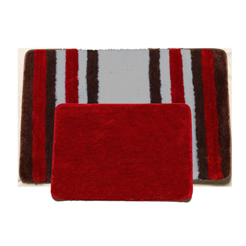 2 pc striped solid bathroom rug set soft plush bath for Big w bathroom mats