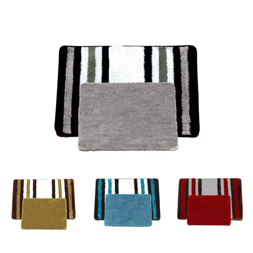 Abby 3 piece bathroom rug set bath rug contour rug lid for Big w bathroom mats