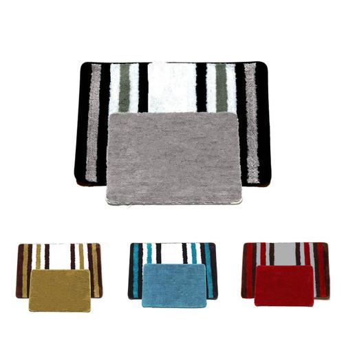 2 PC Striped U0026 Solid Bathroom Rug Set, Soft Plush Bath Mats, Jennie, Blue,  Black, Sage, Burgundy