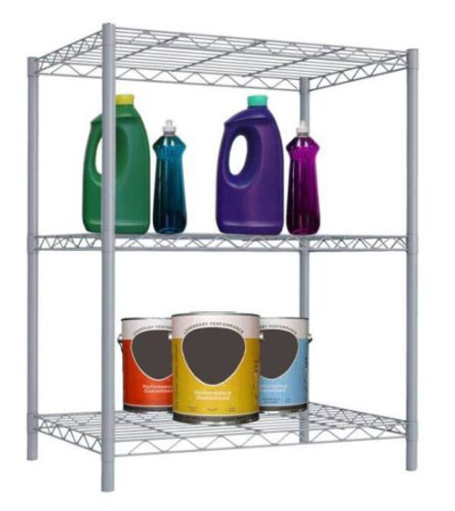 3 Tier Wire Shelving, Garage Kitchen, Storage Shelf Rack Organizer - Grey/Steel
