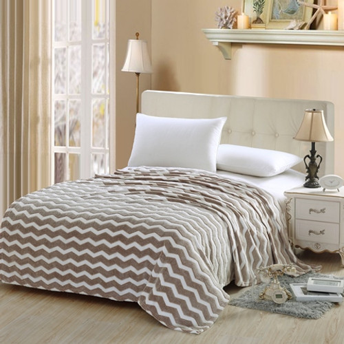 Chevron Micro Fleece Jacquard Blanket - Beige
