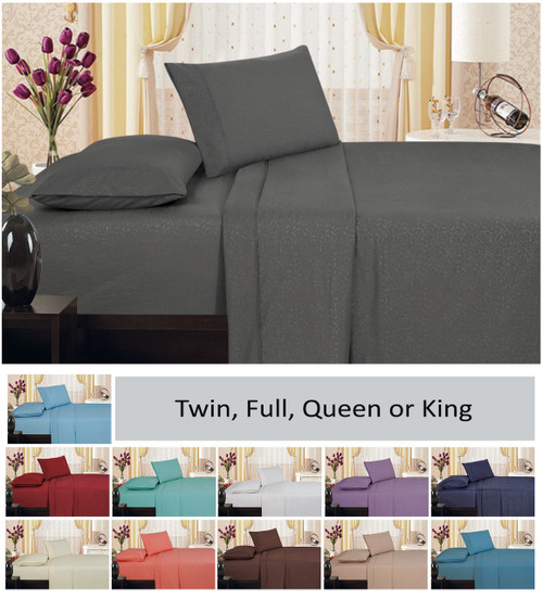 1800 Series Plaza Home Embroidery Vine Sheet Set