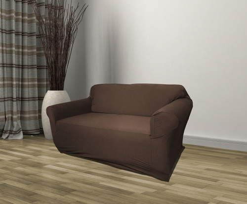 Kashi Home Stretch Jersey Loveseat Slipcover - Brown