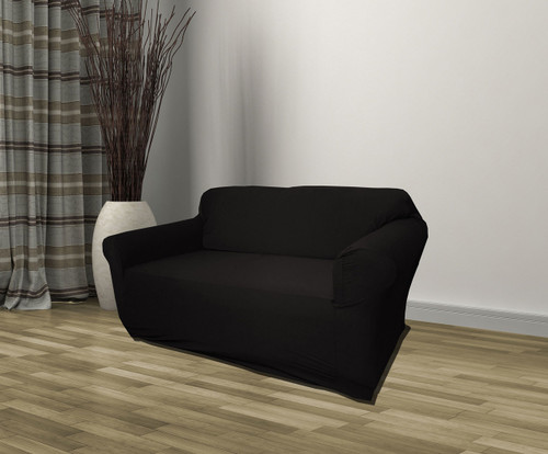 Kashi Home Stretch Jersey Loveseat Slipcover - Black