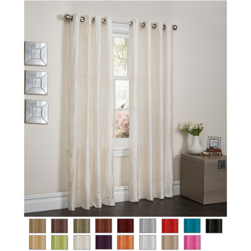 Sherry Crushed Satin Window Curtain Panel Main With Swatch