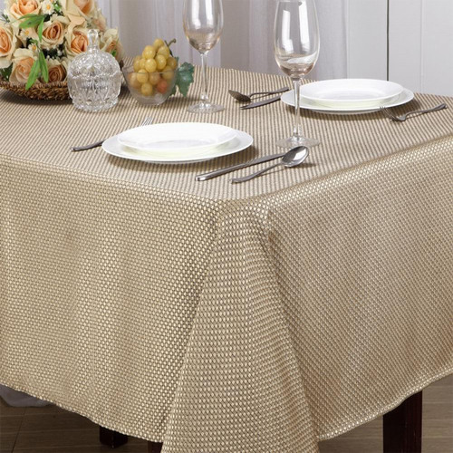 Monarch Collection Textured Jacquard Fabric Tablecloth, Rectangle, Round - Gold