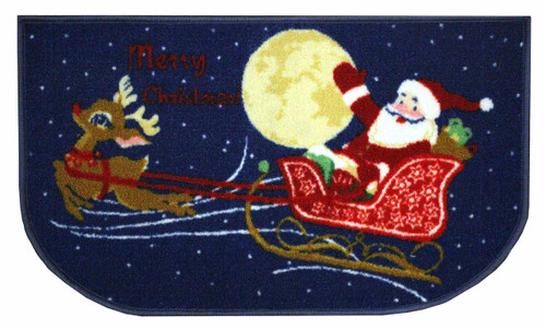 "D-Shape Non-Skid Christmas Kitchen Rug, Decor Kitchen Mat, Santa/Reindeer - 18""x30"""