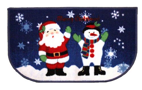 """D-Shape Non-Skid Christmas Kitchen Rug, Decor Kitchen Mat, Santa/Snowman - 18""""x30"""""""