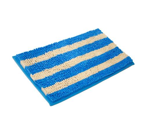 Bath mat cabana soft plush stripe chenille yarn bath rug for Big w bathroom mats