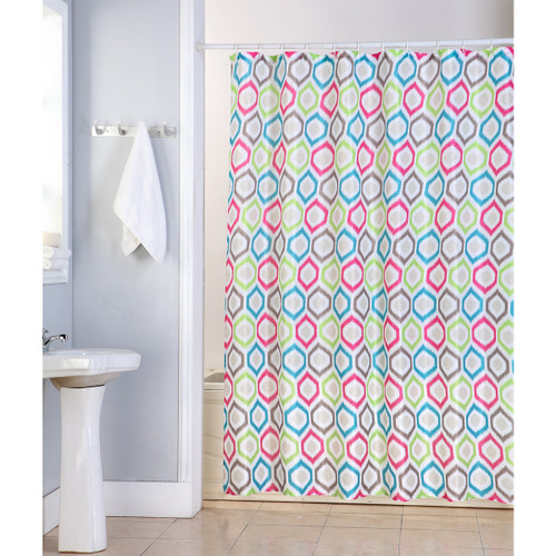 "Elena Shower Curtain, 70""x70"", Colorful Hexagon Geometric Printed Design"