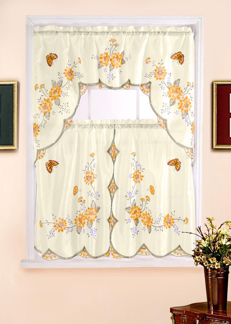 Floral Printed Kitchen Curtain Swag Set