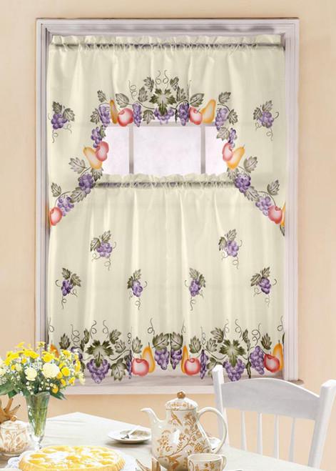 Grape Vine Printed Kitchen Curtain Set