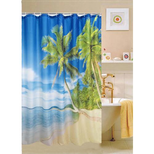 "Cebu Fabric Shower Curtain, 70""x70"", Beach View Printed Design"