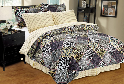 Amazon Bed in a Bag, Multi Animal Print - Checked Pattern, Reversible