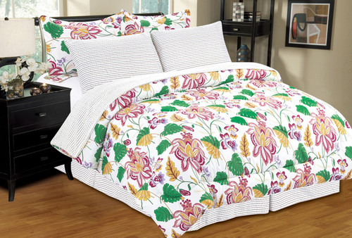 Hawaii Bed in a Bag, Floral Print - Striped Pattern, Reversible