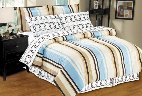 Madison Bed in a Bag, Striped - Circles Pattern, Reversible