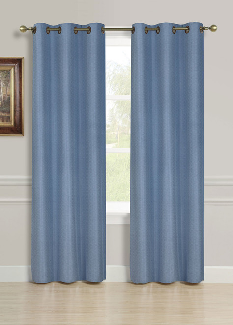 """Racheal Grommet Top Faux Linen Curtain Panel, 54""""x84"""", 1 Panel - Blue"""