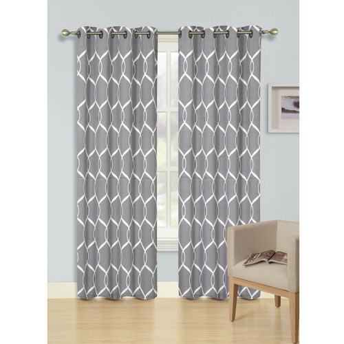 Jacquard Wave Grommet Window Curtain Panel, Quinn, 54x90