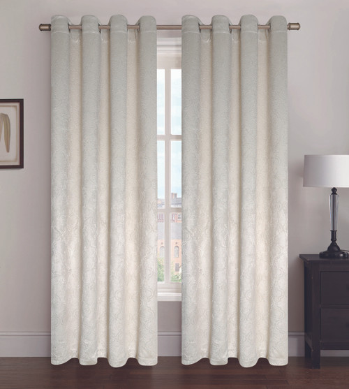 "Blackout / Room Darkening Window Curtain Panel, Jacquard Geometric Design, Paige, 53"" x 84"", 1 Panel"