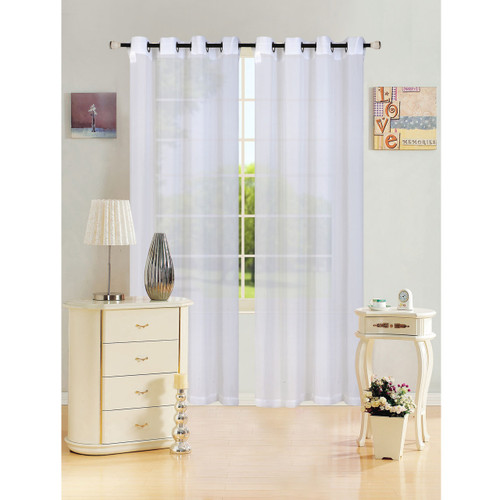 "Sheer Voile Window Curtain Panel With Metal Grommets, Solid Color, Leah, 55"" X 84"" - 1 Panel"