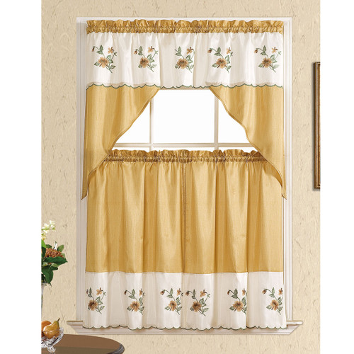 Floral Embroidered 3 Piece Set Kitchen Curtain, Window Panels & Swag Valance, Sally (Gold)