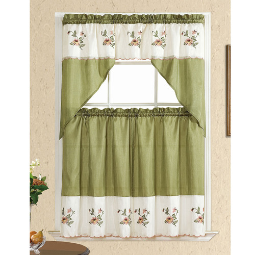 Floral Embroidered 3 Piece Set Kitchen Curtain, Window Panels & Swag Valance, Sally (Sage)