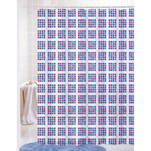 Printed Shower Curtain PVC Free (PEVA) Colorful Geometric Squares ...
