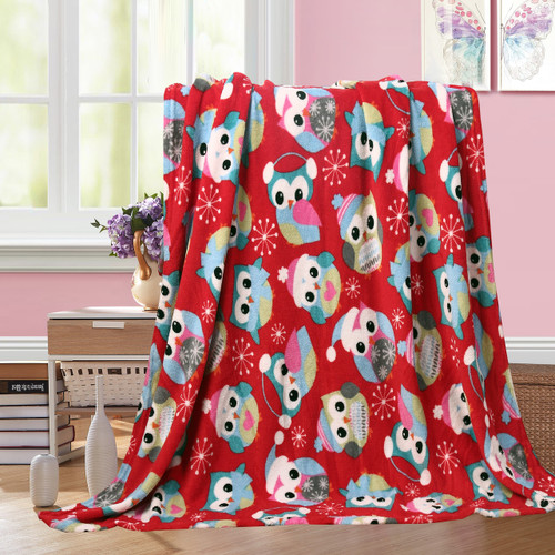 Holiday Christmas Throw Blanket, Soft & Plush, 50x60, Owl