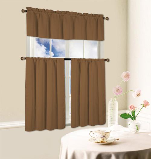 Hamilton 3 Piece Kitchen Curtain Set Available In 4: Window Kitchen Curtain Beth 3 Piece Energy Efficient