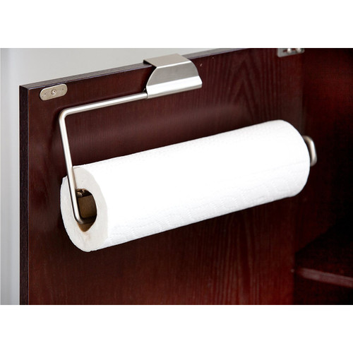 Home Basics PH01916 Gateway Collection Satin Nickel Over The Door Paper Towel Holder