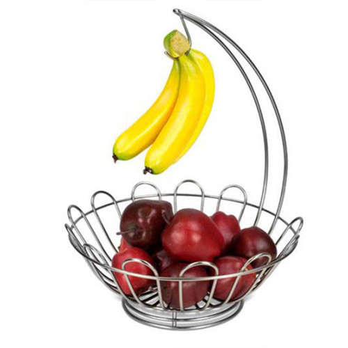 Home Basics FB44494 Gateway Collection Satin Nickel Fruit Bowl With Banana Tree