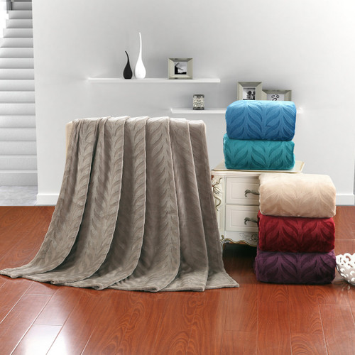 Soft Plush Micro Fleece Leaf Etched Jacquard Throw Blanket 50x60