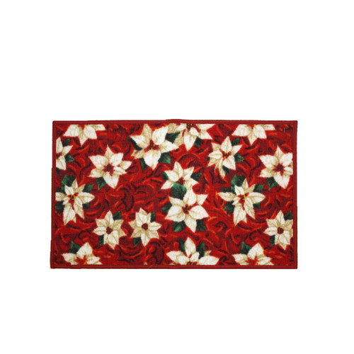 "Christmas Kitchen Rug, Decor Mat, White Poinsettia - 18""x30"" (K-RS030671)"