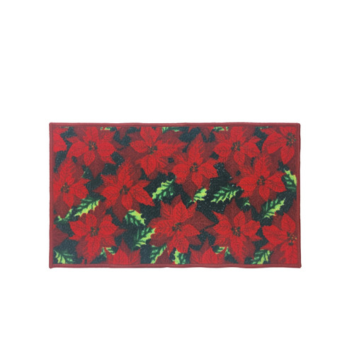 "Christmas Kitchen Rug, Decor Mat, Red Poinsettia - 18""x30"", Rectangular (K-RS030664)"