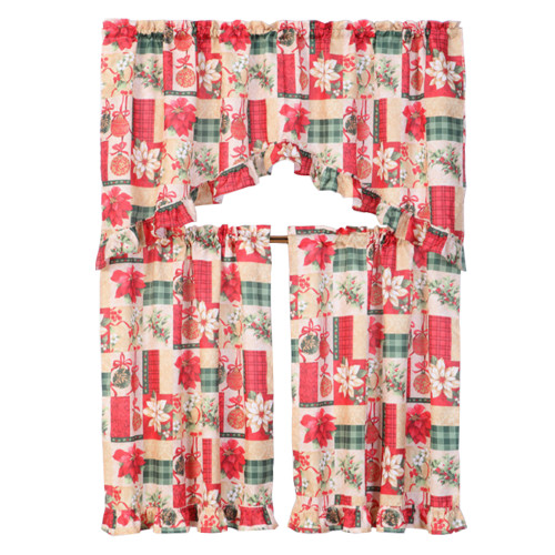3 Piece Christmas Decorative Kitchen Curtain Set, Ruffled Swag Valance & Tiers (Christmas Gift)