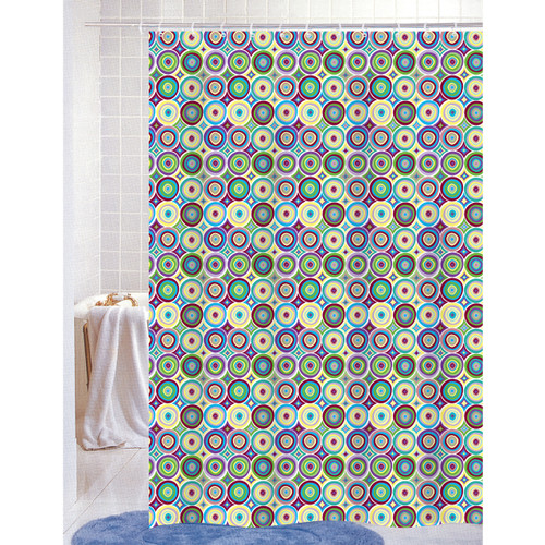 "PEVA Shower Curtain With Matching Metal Hooks, 70""x72"", Circles/Dots Geometric Print, Luna (K-SC053038)"