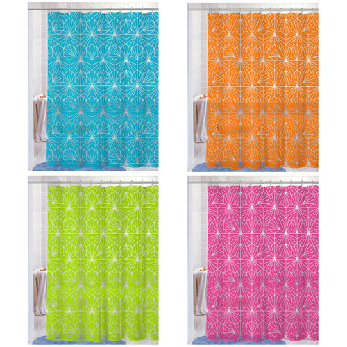 "PEVA Shower Curtain With Matching Metal Hooks, 70""x72"", Geometric Print, Amelia - 4 Colors"