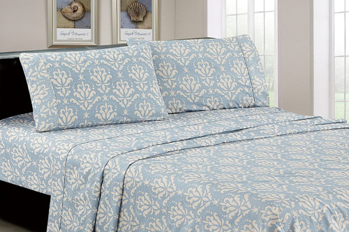 Brushed Microfiber Blue & White Damask 4 Piece Sheet Set, Full, King, Queen