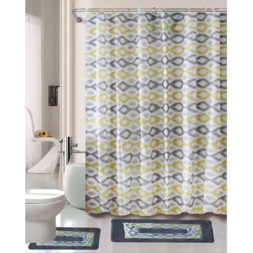 Cortlandt Collection 15 Pc Bathroom Accessories Set, Bath Mat, Contour Rug, Shower Curtain with Ring Hooks - Keena Yellow