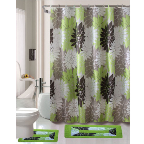 Cortlandt Collection 15 Pc Bathroom Accessories Set, Bath Mat, Contour Rug, Shower Curtain with Hooks - Erica Sage