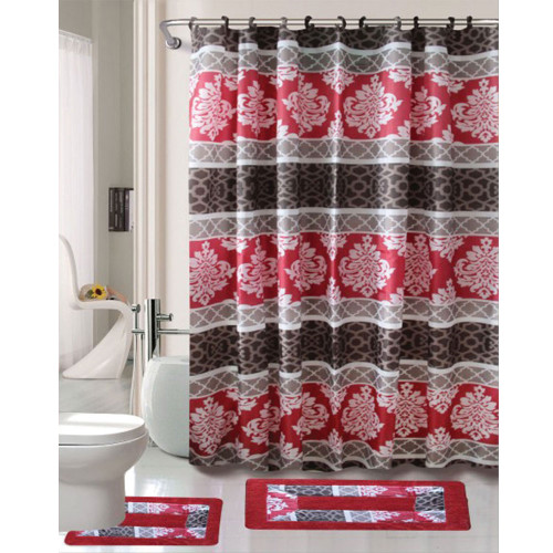 Cortlandt Collection 15 Pc Bathroom Accessories Set, Bath Mat, Contour Rug, Shower Curtain with Hooks - Alana Burgundy