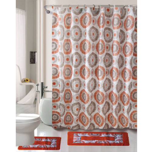 Cortlandt Collection 15 Pc Bathroom Accessories Set, Bath Mat, Contour Rug, Shower Curtain with Hooks - Skylar Rust