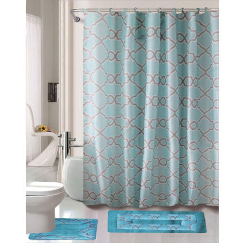 Cortland Collection 15 Pc Bathroom Accessories Set, Bath Mat, Contour Rug, Shower Curtain with Hooks - Dylan Blue