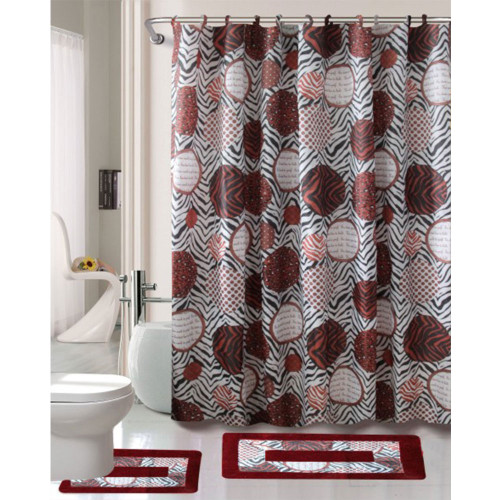 Cortlandt Collection 15 Pc Bathroom Accessories Set, Bath Mat, Contour Rug, Shower Curtain with Hooks - Madrid Burgundy