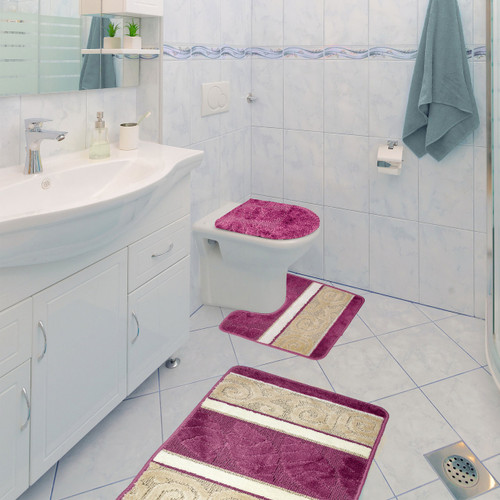 Scroll 3 Piece Bathroom Rug Set, Bath Rug, Contour Rug, Lid Cover Pink