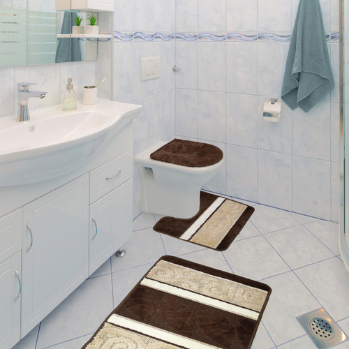 Scroll 3 Piece Bathroom Rug Set, Bath Rug, Contour Rug, Lid Cover Brown
