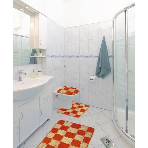 Alexa 3 Piece Checker Design Bathroom Rug Set, Bath Rug, Contour Rug, Lid Cover