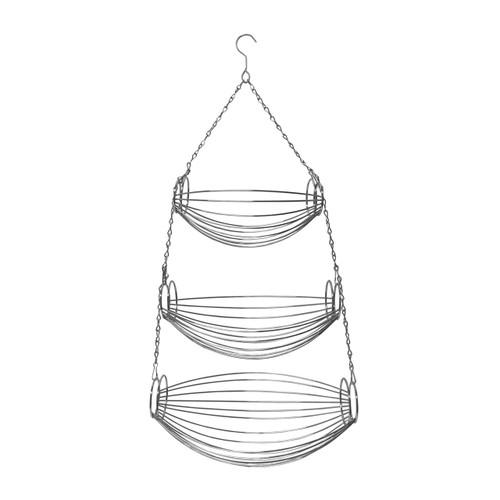 3-Tier Chrome Wire Hanging Basket, Fruit Organizer Basket