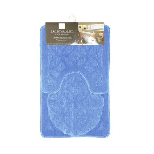 Aries Geometric Circles Design 3 Piece Bathroom Rug Set, Bath Rug, Contour Rug, Lid Cover
