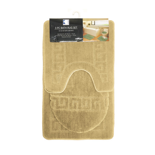 Greek Key 3 Piece Bathroom Rug Set, Bath Rug, Contour Rug, Lid Cover